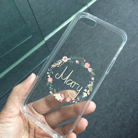 Transparent clear flower wreath retro floral case for iPhone 5 5s iPhone 5c 4 4s case, personalized monogram name custom made case (K37)