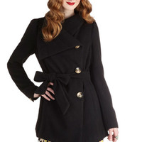 ModCloth Long Long Sleeve Carefully Chosen Coat in Black