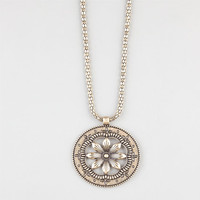 Full Tilt Round Flower Pendant Gold One Size For Women 24275962101