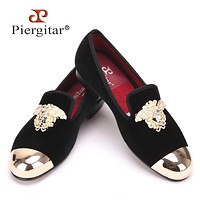 Fashion Handmade Medusa Top and Metal Toe Men Velvet Dress shoes Men Luxurious Prom and Banquet Loafers Plus Size Men's Flats
