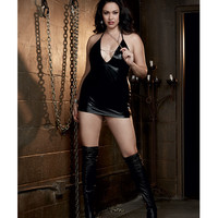Fetish Faux Leather-look Stretch Knit Chemise W-open Back & Chain Detals & Chain Collar Black Qn