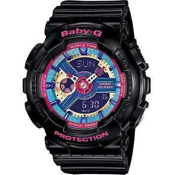 Casio Ladies Baby-G Analog-Digital - 3D Dial with Black Resin Case and Strap
