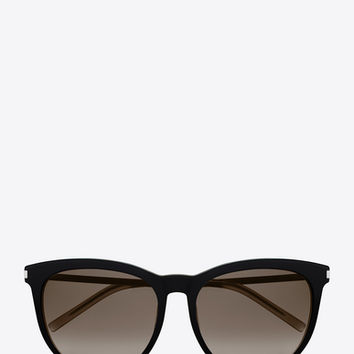 Classic 24 sunglasses in black and silver acetate with brown shaded lenses