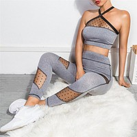 2020 new women's polka dot mesh stitching breathable slim yoga two-piece suit