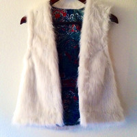 Reversable White Faux Fur and Printed Silk Vest