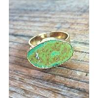 Natural Dark Green Turquoise Stone Ring