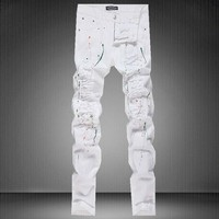 Hot Sale Stylish White Slim Pants Jeans [6544720323]