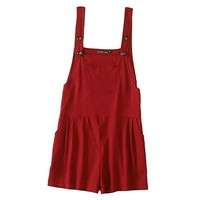 Women's Summer Slim Vintage Loose Bib Overalls Shorts CN M Red