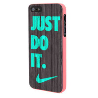 Nike Just Do It Wood Colored Darkwood Wooden Fdl iPhone 5 Case Framed Pink