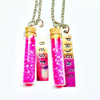 Best Friends Necklace, Friendship Necklace, Necklace Set, Fairy Dust, Pink Glitter, Hand Stamped Tags, Charm Necklace, Friendship Jewelry