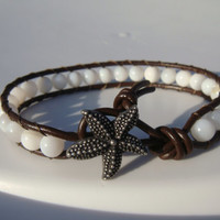 Shell Beaded Leather Bracelet with Starfish Button