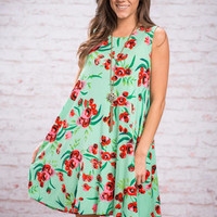 Bloom With A View Dress, Green