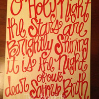 O Holy Night Lyrics Christmas song 16in x 20in canvas