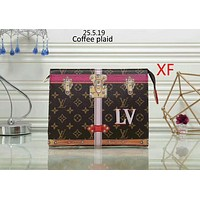 LV Louis Vuitton 2018 trendy women's fashionable clutch bag Messenger bag F-LLBPFSH Coffee plaid