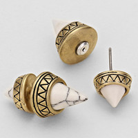 White Double Sided Tribal Cone Earrings