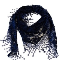 VegasHorizon Lightweight Women's Translucent Triangle Lace Scarf with Floral Pattern - Navy