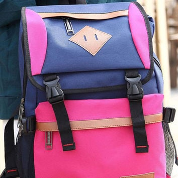 Hot Pink PU-Trim Color-Block Backpack