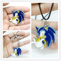 Game Sonic the Hedgehog key chian Keyrings Copper Pendants Backpack Clothes Accessories