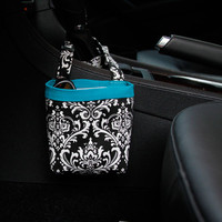 Car Cellphone Caddy ~ Black Damask ~ Turquoise Band ~ Center Console Handle
