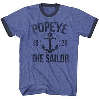 T-Shirts Sizes S-2XL New Authentic Popeye Anchor Ringer Tee Shirt
