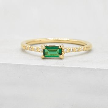 Classic Baguette Ring - Gold + Green