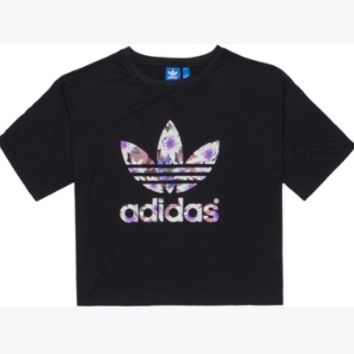 """""""Adidas"""" Women Casual Simple Floral Letter Short Sleeve T-shirt"""