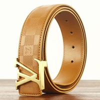 Louis Vuitton LV Fashion New Tartan Leather Women Men Leisure Belt