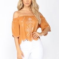 Adrianna Off Shoulder Top - Mustard