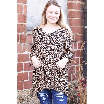 Cheetah Button + Pocket Tunic - Size SMALL