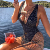 Summer hot style deep v-neck mesh dress