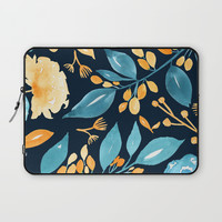 Teal and Golden Floral Laptop Sleeve by noondaydesign