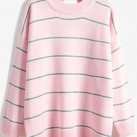 Pink Striped Loose Sweater