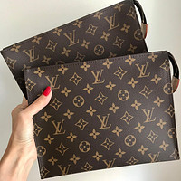 Hipgirls LV Women Makeup Bags Handbag Men's Business Bag Louis Vuitton Classic Clutch Bag