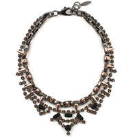 METAL-LUXE CRYSTAL & SPIKE NECKLACE - BROWN/MATTE BLACK SPIKES/ SMOKY QUARTZ