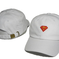 White Superman Embroidered Baseball Cap Hat