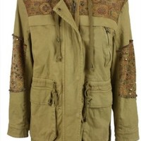 Free People Womens Caramel Wash Cara Tapestry Hooded Jacket S