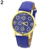 Cute Casual Women's Geneva Flower Dial Leather Band Quartz Wrist Watch = 1956671236