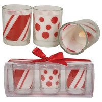 Red and White Peppermint Swirl LED Votive Candles