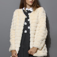 Quilted Faux Fur Coat in Cream  White
