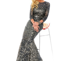 Precious Formals L9191 Long Sleeve Sequin Prom Pageant Dress
