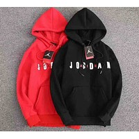 NIKE Fashion Casual Print Letter Sweater Hoodie Pullover Black G-WMGCD