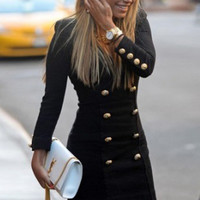 Black Double Breasted V Neck Knitted Dress