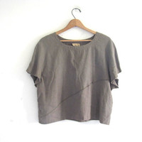 vintage linen / viscose top. cropped linen shirt. short sleeved top. neutral taupe top. minimalist.