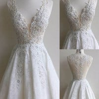 Homecoming Dresses, Mini V-Neck Lace Appliques Homecoming Dress with Beadings