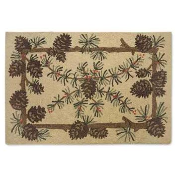 Needles and Cones Hooked Wool Accent Rug -- 2' x 3'