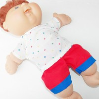 """Cabbage Patch 14 inch Doll Clothes or 15"""" bitty baby doll clothes- white star shirt and red shorts"""