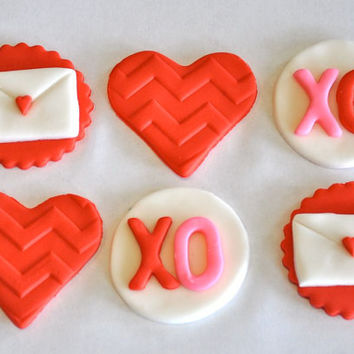Valentine's Day Fondant Cupcake, Cake or Cookie Toppers- Edible- 1 DOZEN