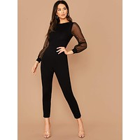 Beaded Sleeve Jumpsuit