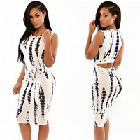 Ivory Tie Dye Print Cut Out Midi Dress