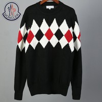 Moncler autumn and winter tide brand men's contrast color diamond check long-sleeved round neck pullover sweater black